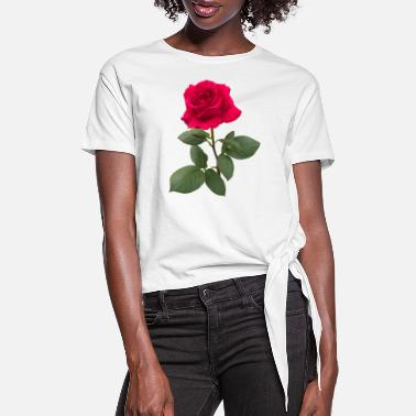 Rose Red rose - Women's Knotted T-Shirt