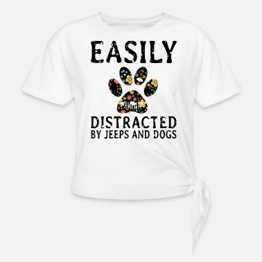 earily distracted by jeep and dogs t shirts - Women's Knotted T-Shirt