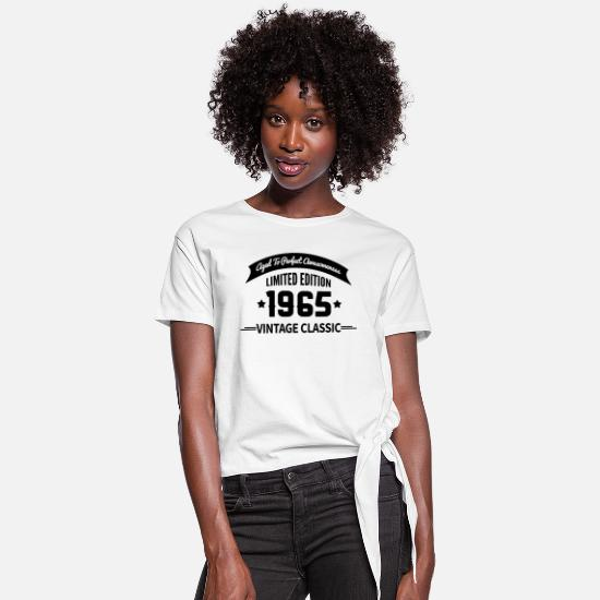 Aged To Perfection T-Shirts - Birthday 1965 Vintage Classic Aged To Perfection - Women's Knotted T-Shirt white