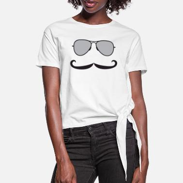 Mustache Mustaches - Sunglasses and Mustaches - Women's Knotted T-Shirt