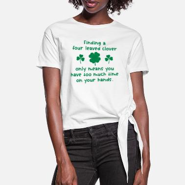 Four Four Leaved Clover - Women's Knotted T-Shirt