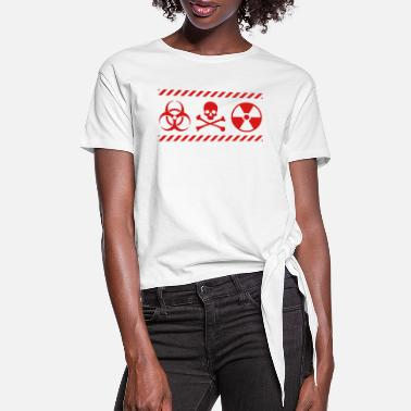 Nuclear Hazard Symbols, nuclear, biological, poison - Women's Knotted T-Shirt