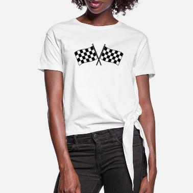 Checkered Flag two checkered flags RACING MOTOR SPORTS - Women's Knotted T-Shirt