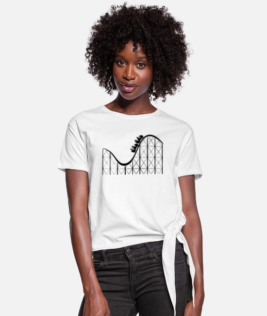 Loop T-Shirts - achterbahn riesenrad ferris wheel roller coaster17 - Women's Knotted T-Shirt white
