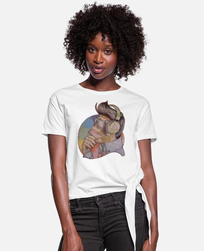 #Natural #Real #Surreal T-Shirts - HipsterMonkey_Soader - Women's Knotted T-Shirt white