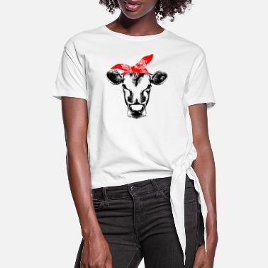 Cow Cow with bandana cute shirt for girl and women - Women's Knotted T-Shirt