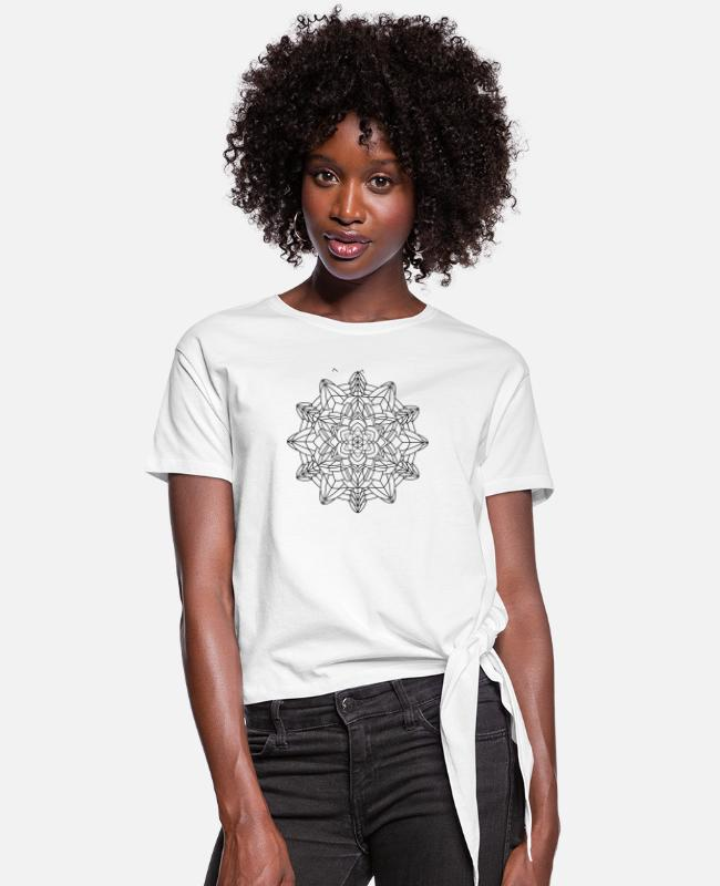 Buddha T-Shirts - Mandala Oldschool MANDALA Ink Tattoo Newschool Mod - Women's Knotted T-Shirt white
