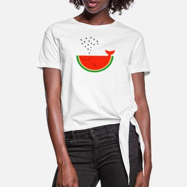 Designs Of The Month Watermelon Whale - Women's Knotted T-Shirt
