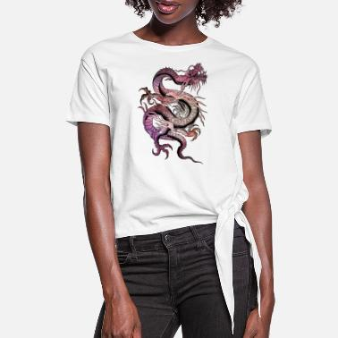 Chinese Galaxy Dragon - Women's Knotted T-Shirt