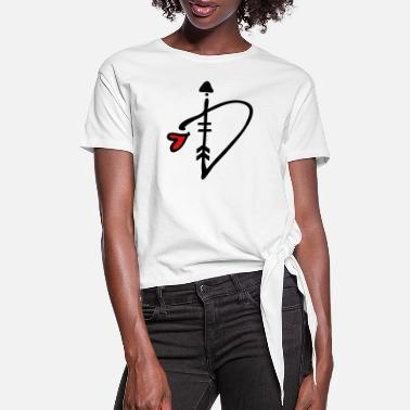 Arrow Letter D with arrow heart - Women's Knotted T-Shirt