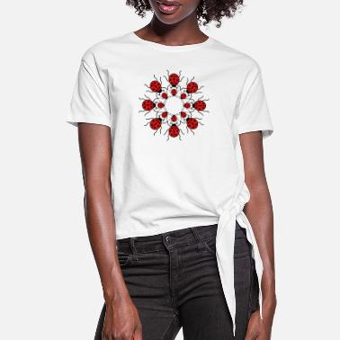 Ladybird pattern many circle round ladybird small sweet cut - Women's Knotted T-Shirt