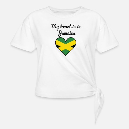 Love T-Shirts - My Heart Is In Jamaica - Women's Knotted T-Shirt white