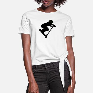Scooter Scooter Boy 5 Silhouette Art - Women's Knotted T-Shirt