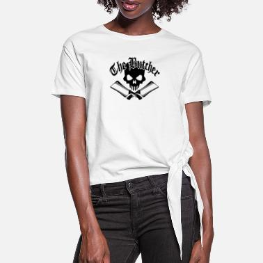 Butcher Skull and Cleavers - Women's Knotted T-Shirt