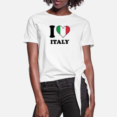 Italy I Love Italy Italian Flag Heart - Women's Knotted T-Shirt