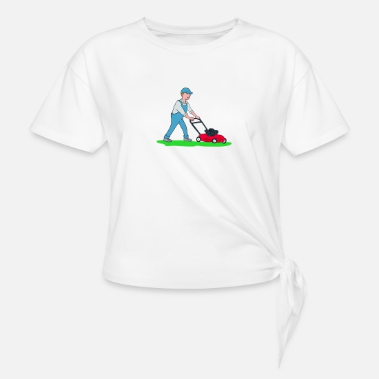 Nurse T-Shirts - Gardener Mowing Lawn - Women's Knotted T-Shirt white