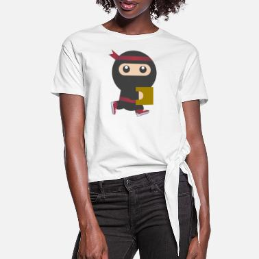 Book Ninja With Book - Women's Knotted T-Shirt