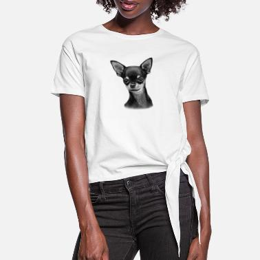 Cute Chihuahua Puppy - Women's Knotted T-Shirt