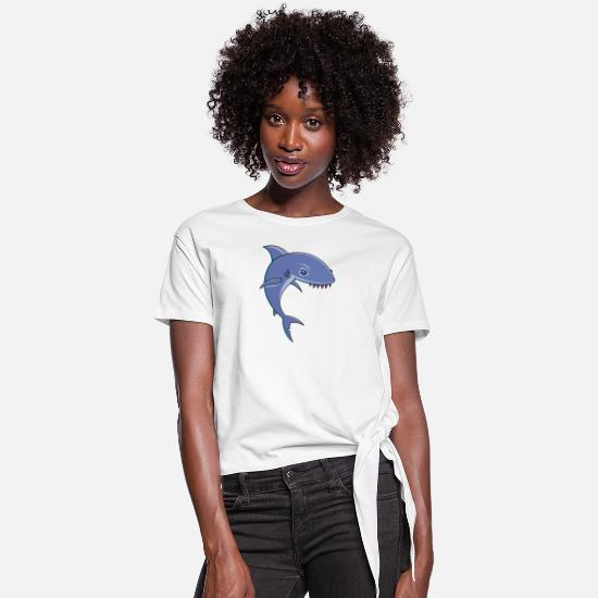 Shark T-Shirts - Sharky Cartoon Shark - Women's Knotted T-Shirt white