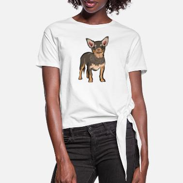 Brown chihuahua dog | chihuahua dog lover t-shirt - Women's Knotted T-Shirt