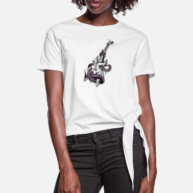 Squidbillies Broken Guitar Squid Angry Drawing Painting Lovely - Women's Knotted T-Shirt