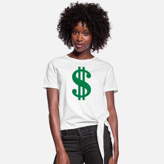 Wealth T-Shirts - Dollar Sign - Women's Knotted T-Shirt white