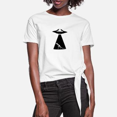 UFO Trex Abduction - Women's Knotted T-Shirt