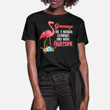 Wing Nice Flamingo Shirt For Grandmothers Grammingo - Women's Knotted T-Shirt