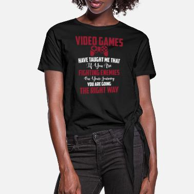 Binary Video Games - Women's Knotted T-Shirt