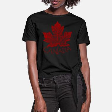 Canada Canada Souvenirs Shirts Vintage Canada Maple Leaf - Women's Knotted T-Shirt