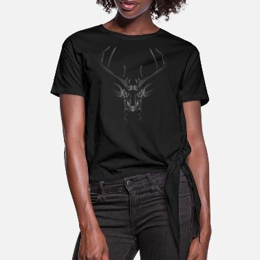 Three Hauses White deer head - Women's Knotted T-Shirt