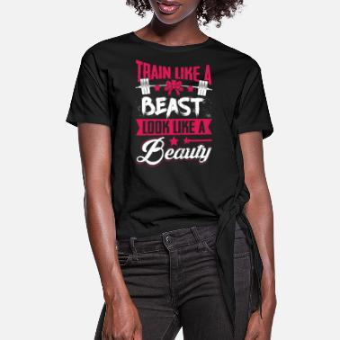 Funny Gym Gym Workout Fitness Bodybuilding A Beast T shirt - Women's Knotted T-Shirt