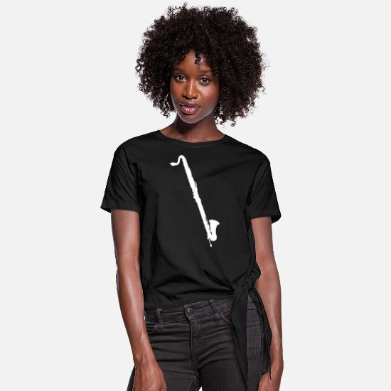 Clarinet T-Shirts - Bass Clarinet - Women's Knotted T-Shirt black