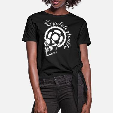 Cyclelogically Cycle Bicycle Skull Cycling - Women's Knotted T-Shirt