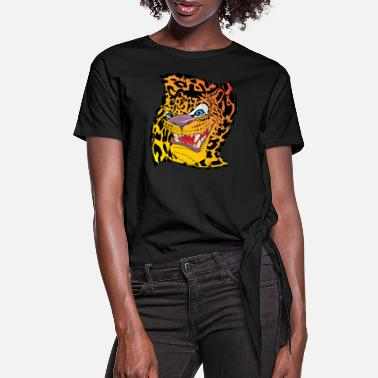 Leopard Leopard with a leopard background - Women's Knotted T-Shirt