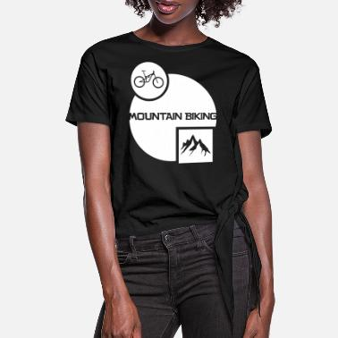 Bike Mountain Biking with Mountains and Bike - White - Women's Knotted T-Shirt
