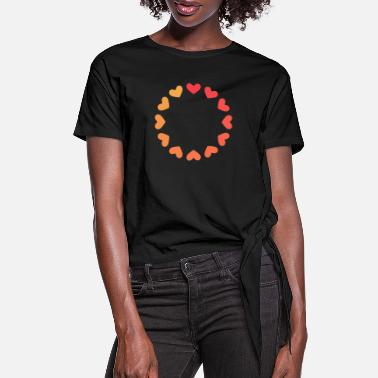 Circle Heart circle symbol pattern love - Women's Knotted T-Shirt