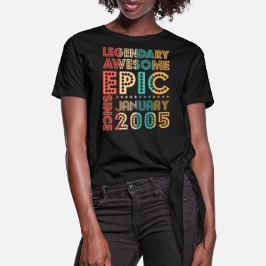 Wedding Party Legendary Awesome Epic Since January 2005 Tee Birt - Women's Knotted T-Shirt