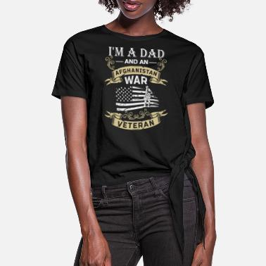 Afghanistan War Veteran I'm A Dad And An Afghanistan War Veteran - Women's Knotted T-Shirt