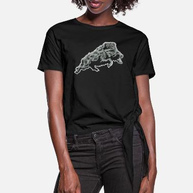 Hunting rampant_wild_boar_on_black - Women's Knotted T-Shirt