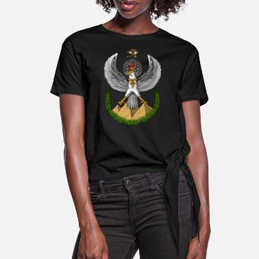 Sacred Geometry Ancient Egyptian Symbol Eye Of Horus - Women's Knotted T-Shirt