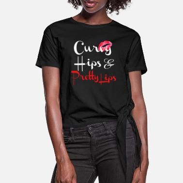Curvy Curvy Hips Pretty Lips - Women's Knotted T-Shirt