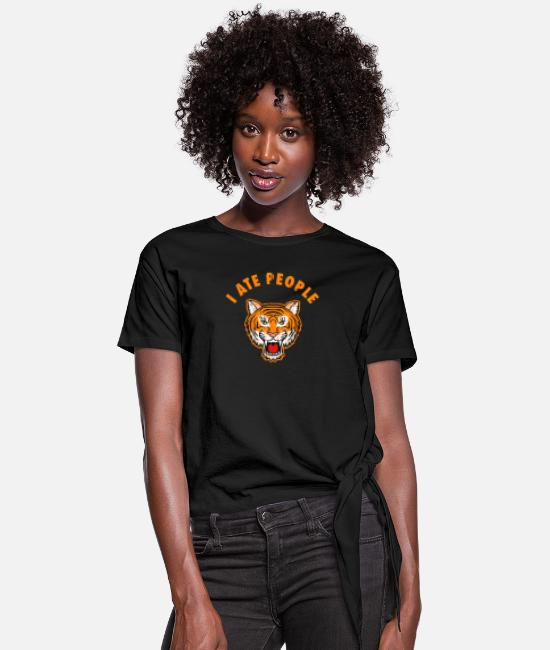 Freaky T-Shirts - Tiger Big Cat Exotic I hate people - Women's Knotted T-Shirt black