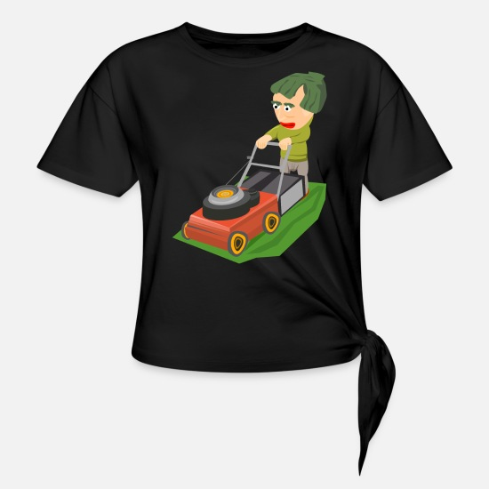 Green T-Shirts - Mowing the lawn - Women's Knotted T-Shirt black