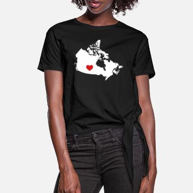 I Heart Canada My Heart belongs in Canada - Women's Knotted T-Shirt