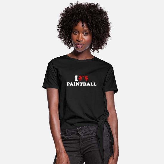 Love T-Shirts - Paintball - Women's Knotted T-Shirt black
