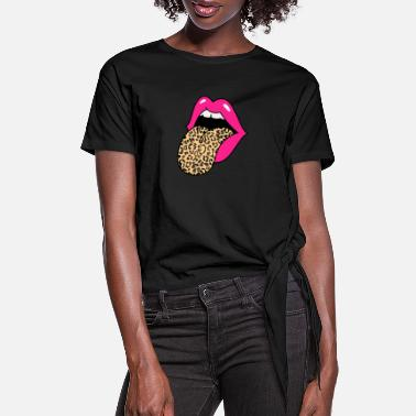 Leopard Hot Pink Lips Leopard Tongue - Women's Knotted T-Shirt