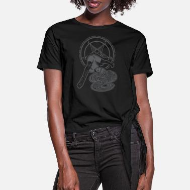 Pentagram Upside Down Pinup Girl and Pentagram - Women's Knotted T-Shirt