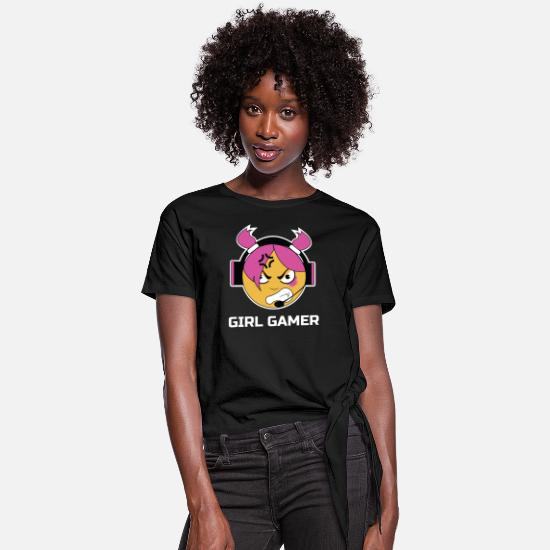 Game T-Shirts - Girl Gamer - Women's Knotted T-Shirt black