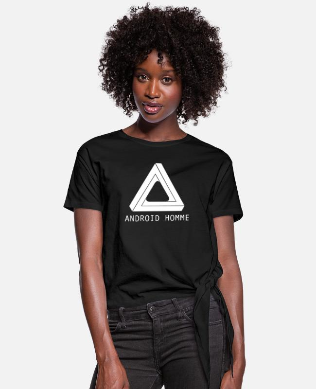Sci-fi T-Shirts - Android Homme - Women's Knotted T-Shirt black